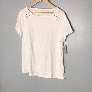 Dressbarn White Short Sleeve Size 1X NWT
